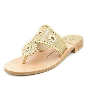 { Jack Rogers } Stardust Gold Dress Thong Sandals
